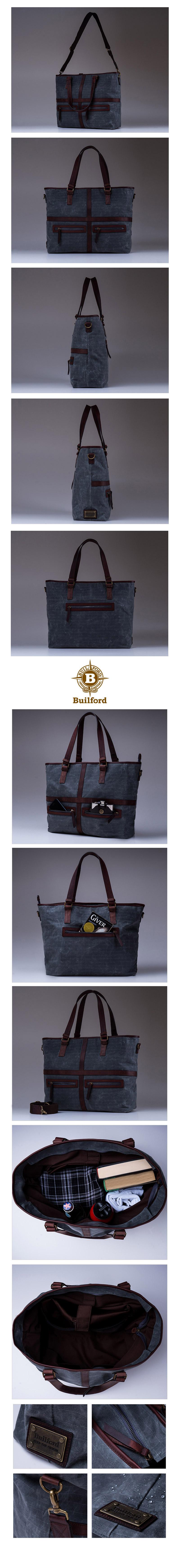 빌포드(BUILFORD) [빌포드] [Builford] May Vintage Tote Bag - Charcoal Grid